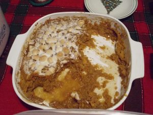mashed sweet potato casserole after eating!!! see it goes quickly!!