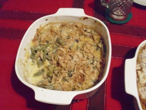 green bean casserole after eating!! not much gone here!!  but was good!!!